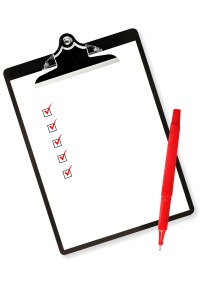 Checklist on clipboard, with red pen.