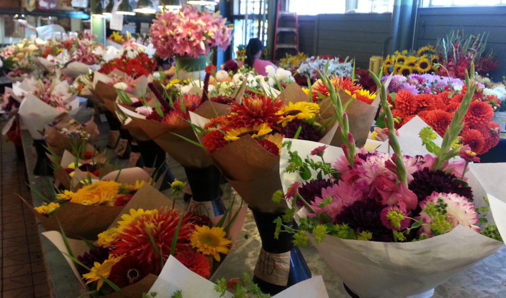 flower stall at farmer's market