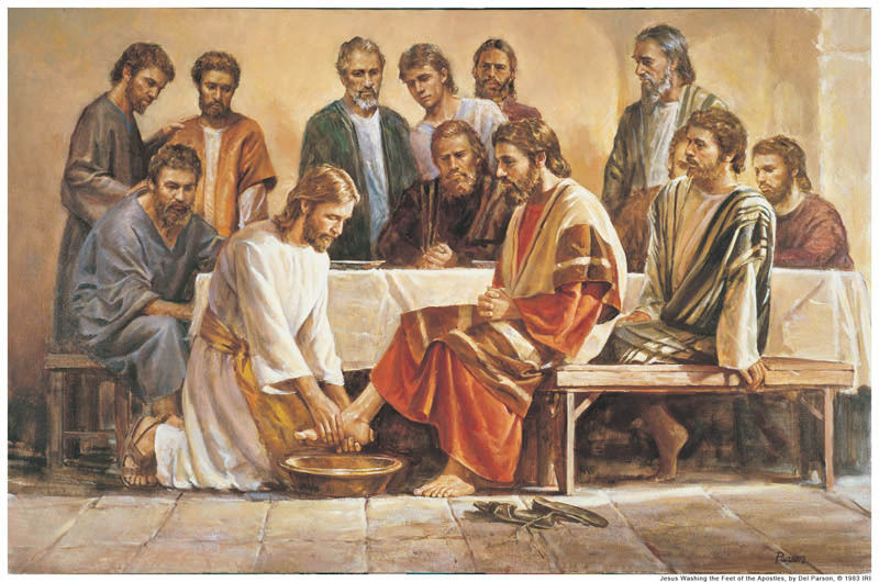Jesus washing feet of his disciples