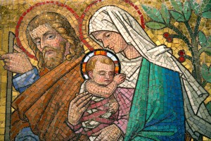Mosaic of Virgin Mary and Child Jesus
