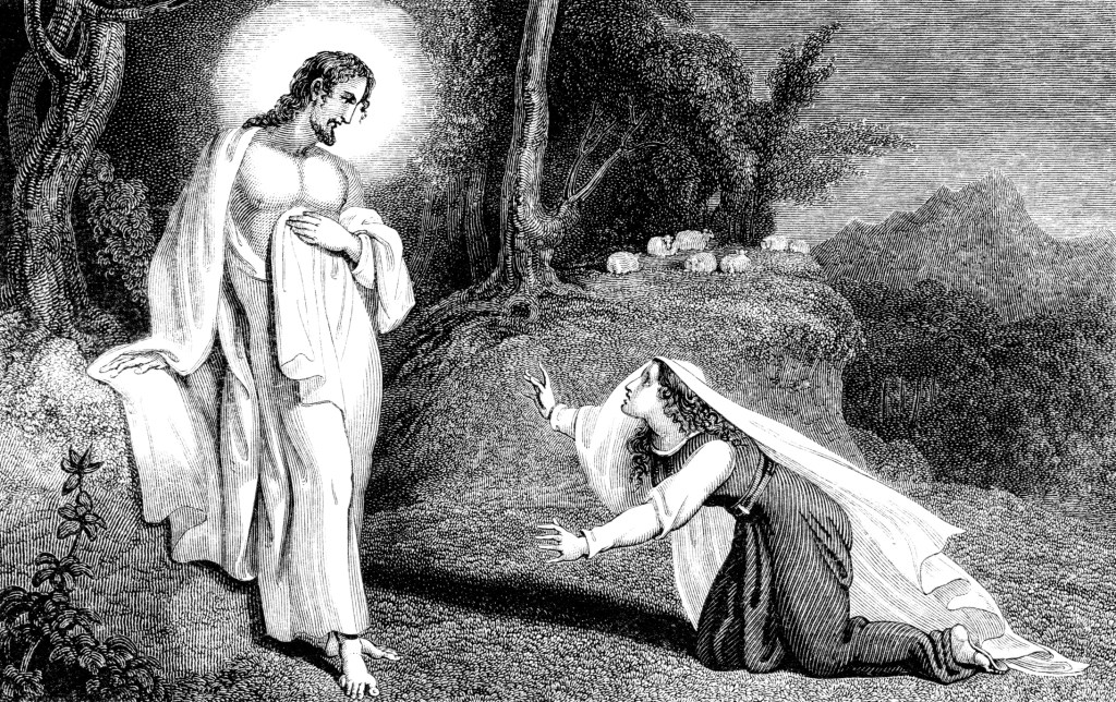 An engraved illustration of Jesus Christ appearing to Mary Magdalene