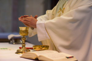 Priest during consecration at mass