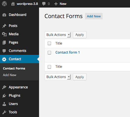 Screenshot Of Contact Form 7u0027s Admin Screen