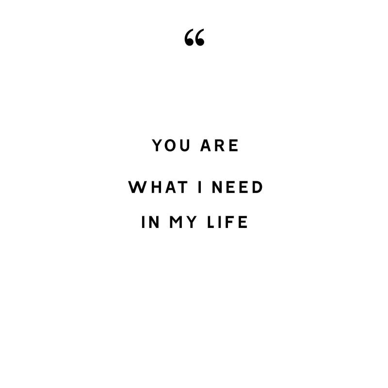 YOU ARE WHAT I NEED IN MY LIFE