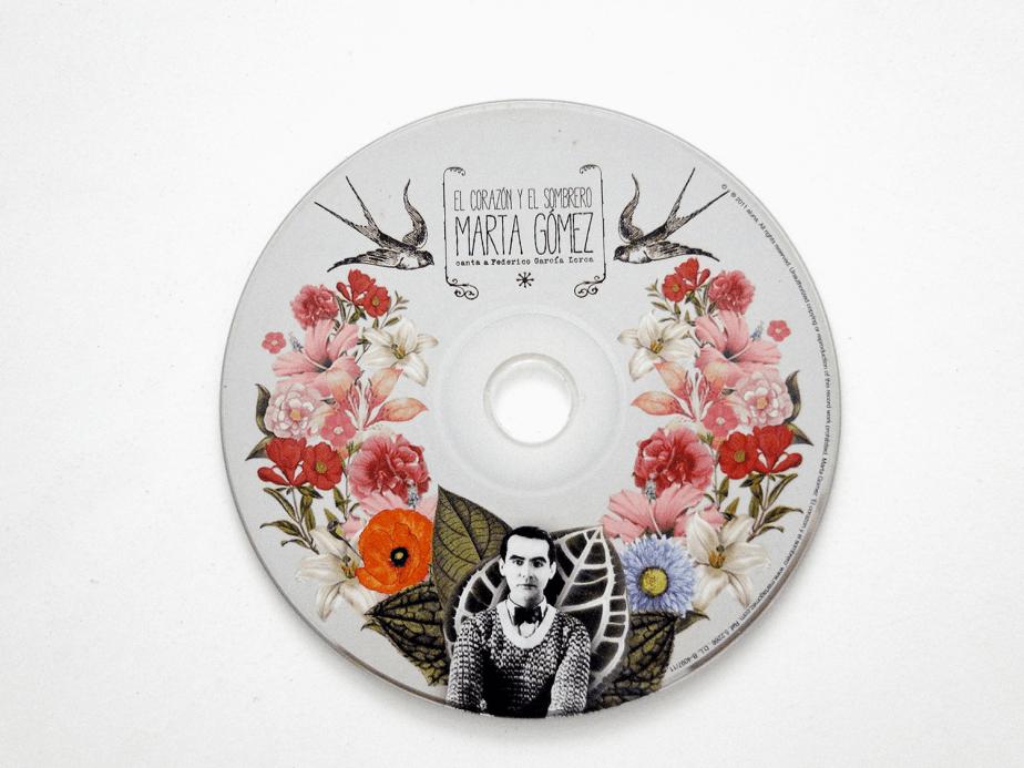 Label del disco El Corazón y el Sombrero de Marta Gómez