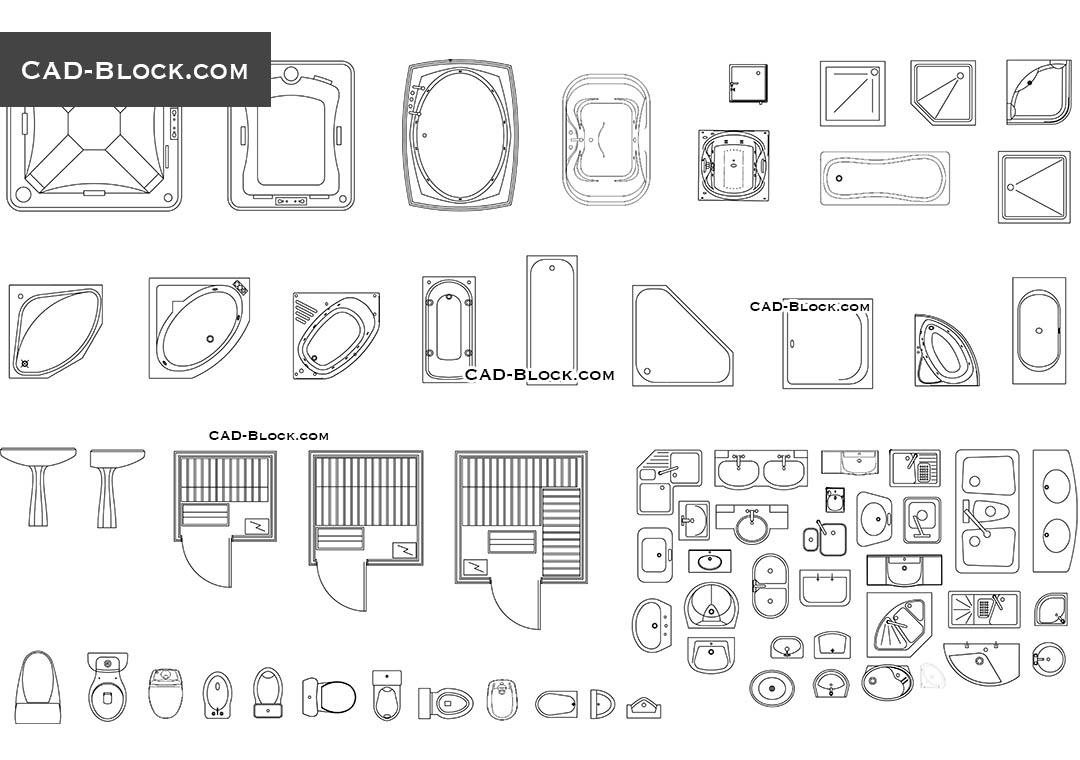 Bathroom Fittings CAD Blocks Free Download Drawings