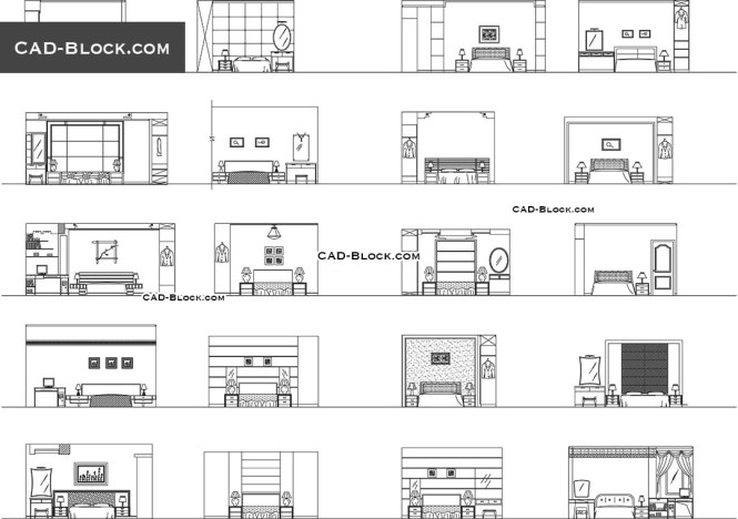 Bedroom Elevation Cad Blocks File