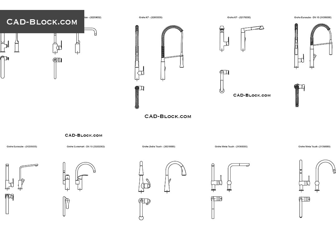 kitchen faucets cad blocks download free
