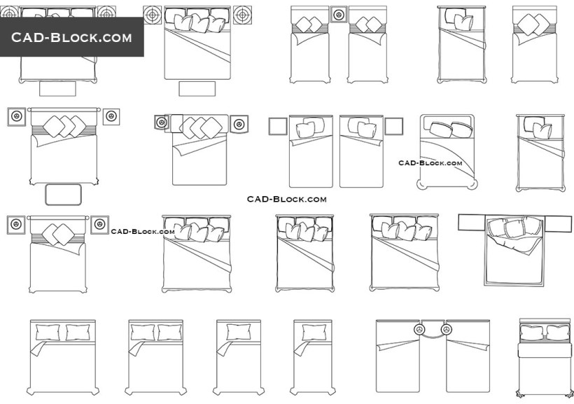 Sofa bed cad block free for Bed elevation blocks