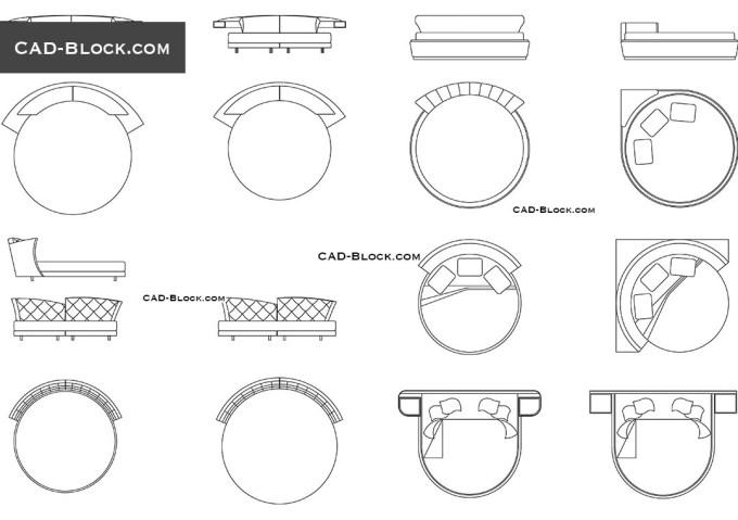 Elevation For Circular Plan : Circular sofa cad block catosfera
