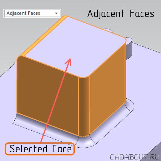 NX Adjacent Faces Selection Intent Rule