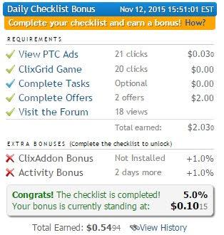 checklist clixsense cada centavo conta