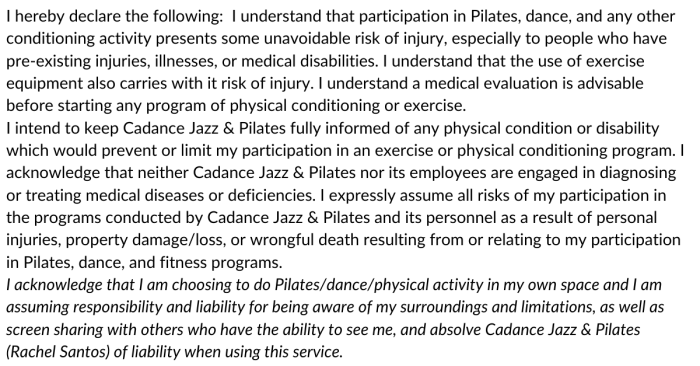 Cadance Declaration/Waiver for Pilates Mat