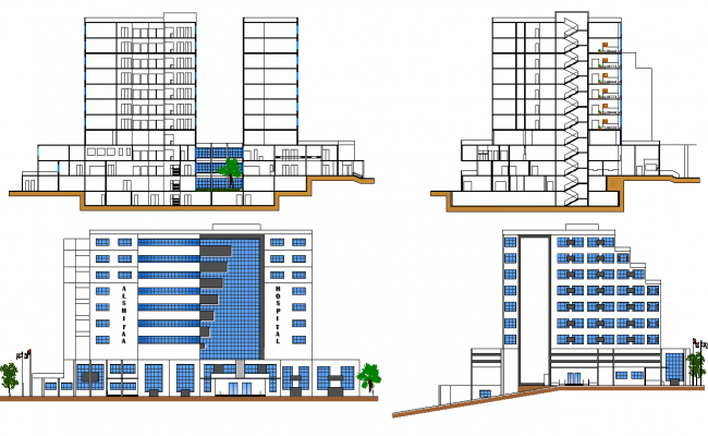 Hospital Elevation And Section Plan