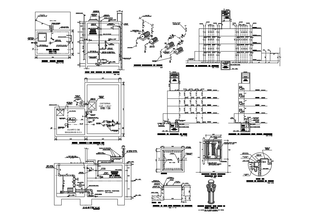 Cistern Water Tank Section Installation Diagram And