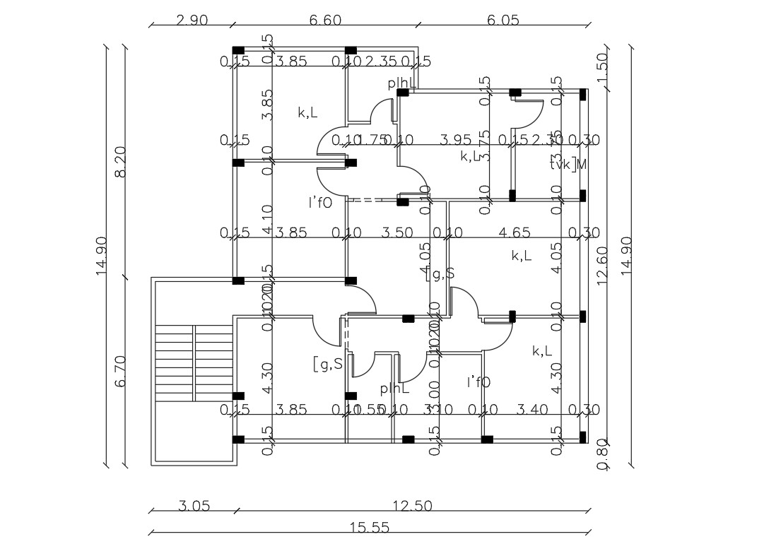 Residential House Working Plan And Column Design Cad