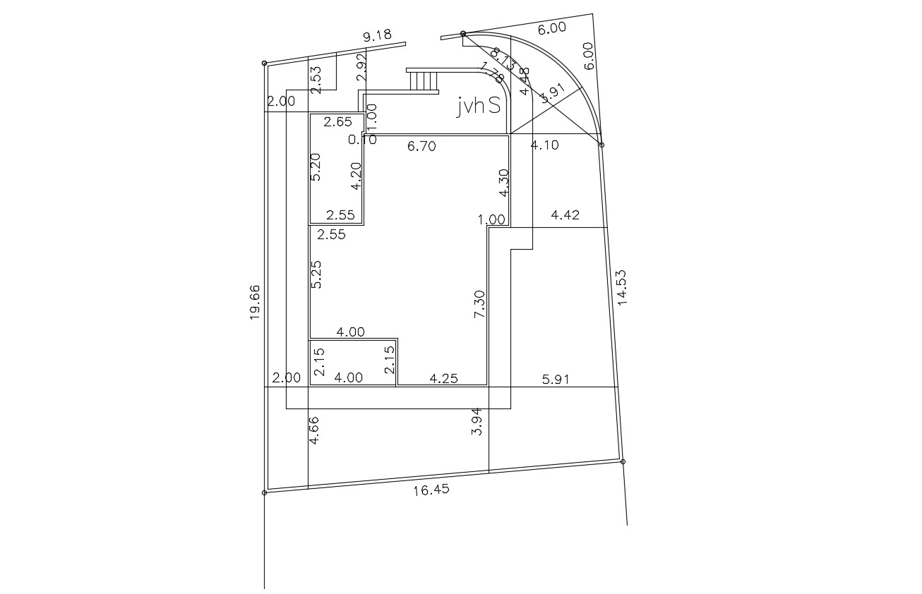 Site And Building Demarcation Autocad Drawing