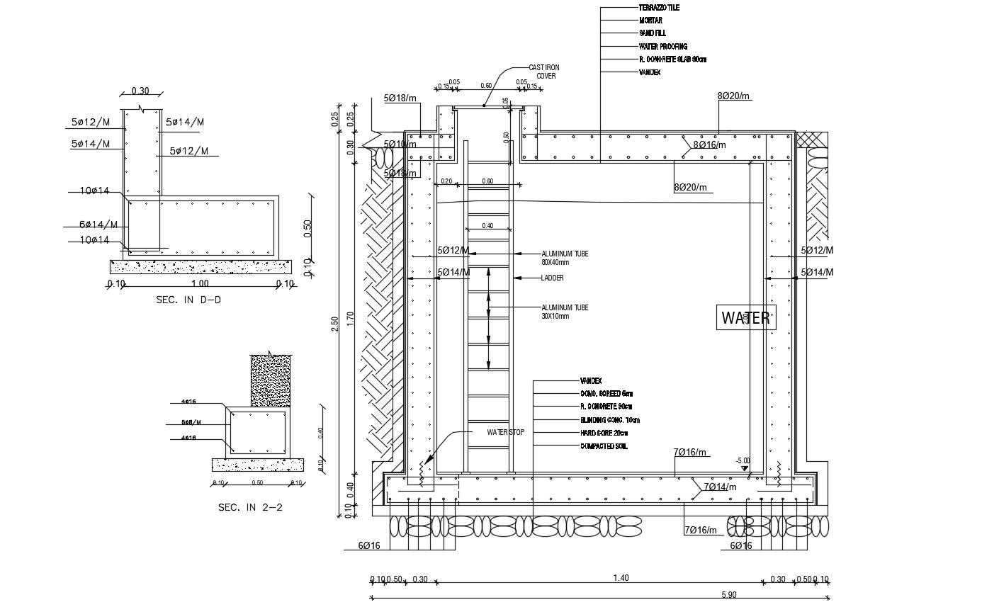 Structure Design Of Underground Water Tank Autocad File