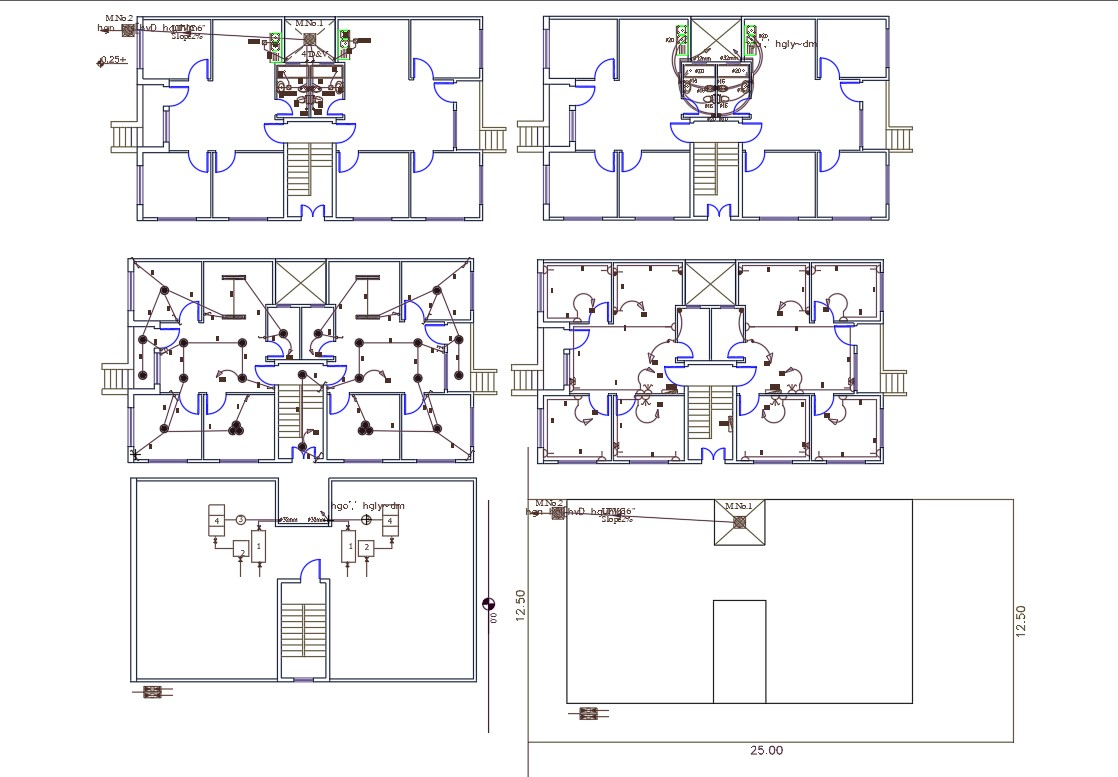 Twin House Electrical And Plumbing Layout Plan Autocad