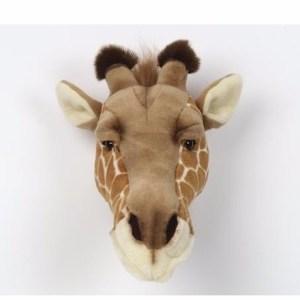 Pluche giraffenkop voor aan de muur