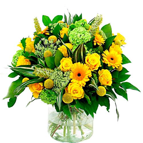 Bloemen buitenland geel - wit