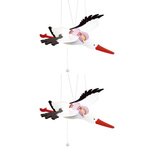 2x Houten speelgoed ooievaar met baby meisje 54 cm