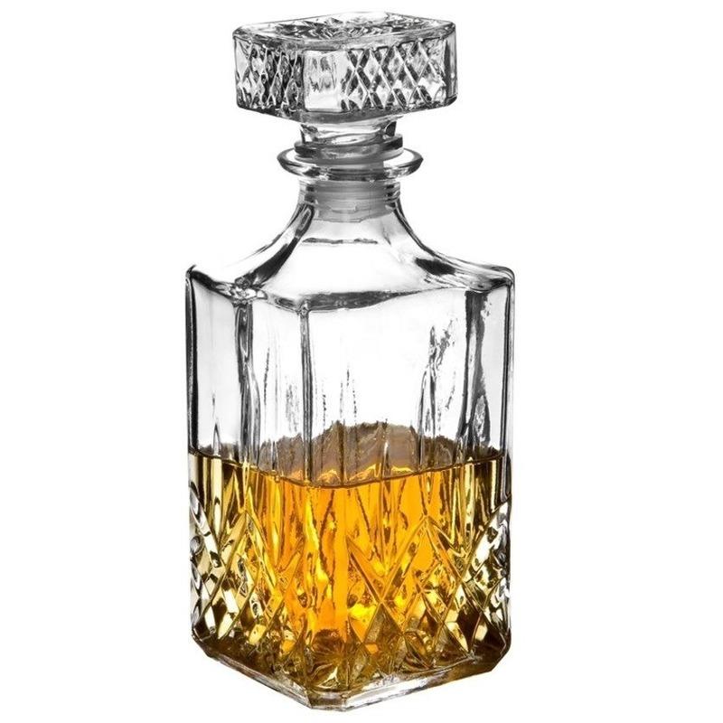 Glazen whisky/water karaf 1 liter/9 x 23,5 cm kristal