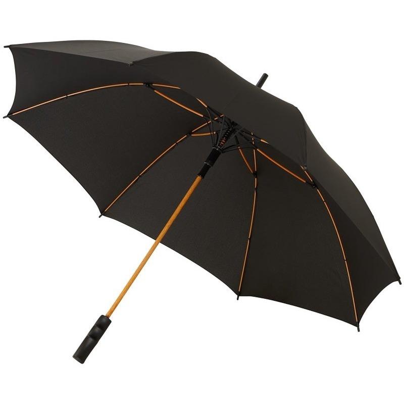 Automatische zwart/oranje stormparaplu 80 cm