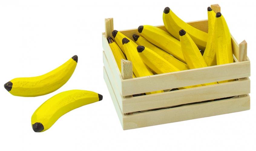 Houten speelgoed bananen in kist 13 x 10 cm