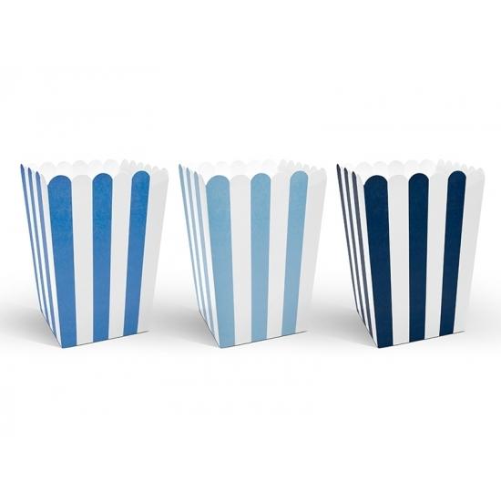 6x stuks gestreepte popcorn/snoep bakjes blauw