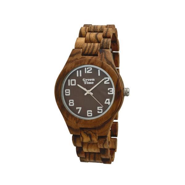 """GreenTime - Houten Unisex horloge ZW065D """"Basic, Quartz uurwerk (Zebrano Hout, met Zilver)"""
