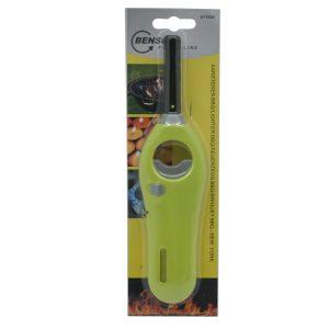 1x stuks gas/bbq/keuken aanstekers navulbaar groen 18 cm