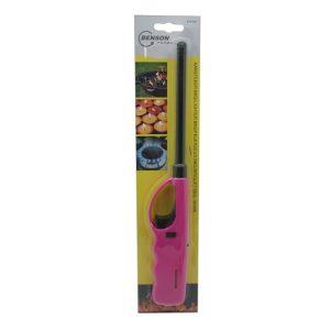 1x stuks gas/bbq/keuken aanstekers navulbaar roze 27 cm