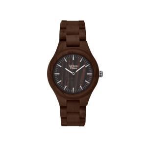 """GreenTime - Houten Unisex horloge ZW065F """"Basic"""", Quartz uurwerk (Sandel hout donker, met Zilver)"""