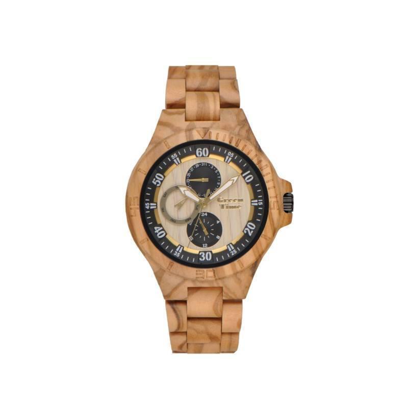 """GreenTime - Houten Unisex horloge ZW094C """"Sport"""" Olive met Dag-Datum (Olijf Hout, Zwart, Geel)"""