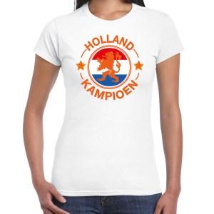 Wit t-shirt Holland / Nederland supporter Holland kampioen met leeuw EK/ WK voor dames
