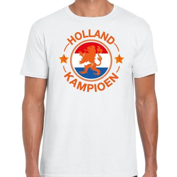 Wit t-shirt Holland / Nederland supporter Holland kampioen met leeuw EK/ WK voor heren