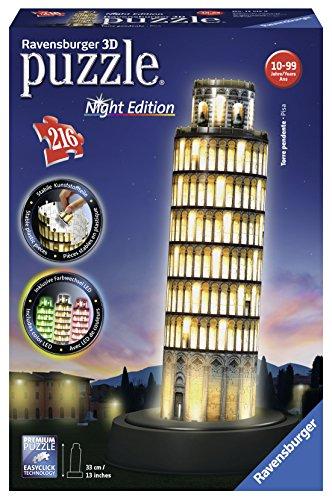 Ravensburger – 12521 – Puzzle – 3D – 216 Pièces – Tour de Pise Night Edition