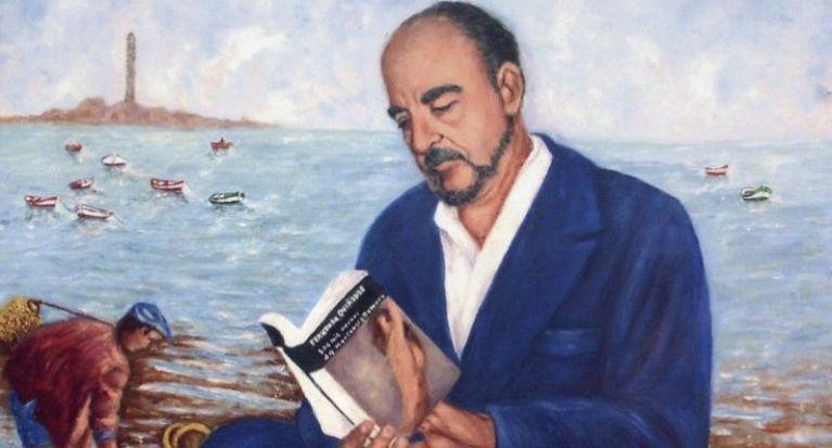 Fotografía de un cuadro con la imagen del escrior gaditano
