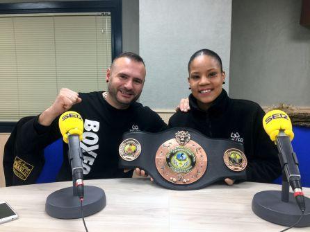 Katherine Quintana con su entrenador César Rodríguez