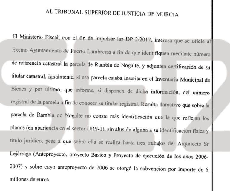 """El Fiscal acusa a Pedro Antonio Sánchez de cambiar """"irregularmente"""" la parcela del auditorio"""