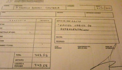 """Factura presentada por Ignacio Romaní con la denominación genérica """"Gastos varios de representación"""""""