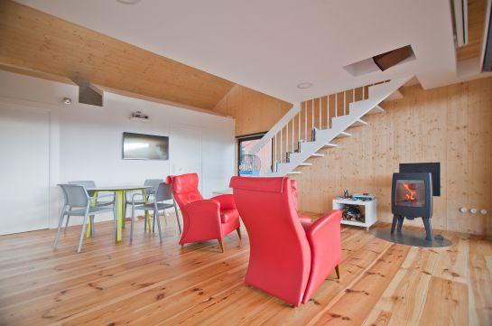 Interior de una casa prefabricada