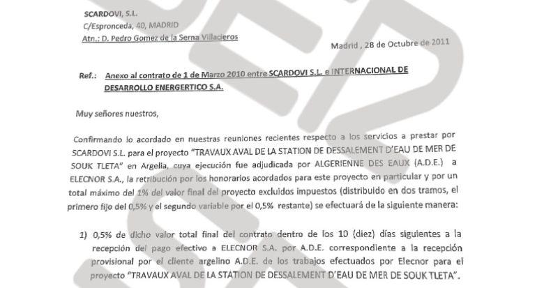 Documento que refleja la comisión pactada con Elecnor por el contrato de una desaladora en Argelia.
