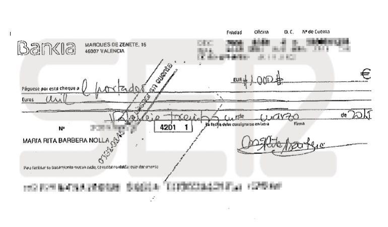 Cheque al portador por valor de 1.000 euros firmado por Rita Barberá en marzo de 2015.