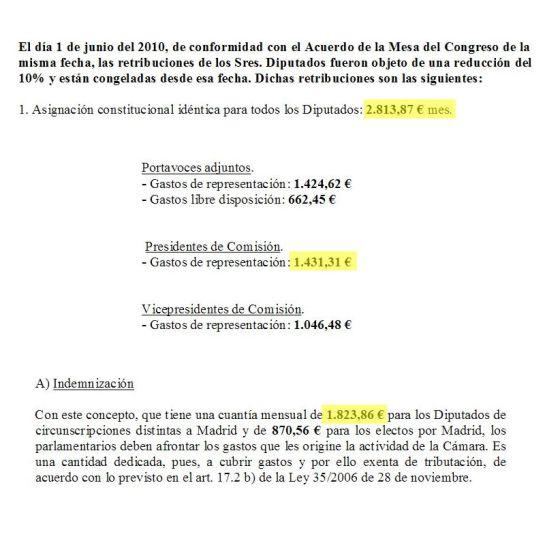 Montaje fotográfico de la suma de las retribuciones de Jorge Fernández Díaz, según lo estipulado en el régimen económico de los diputados del Congreso