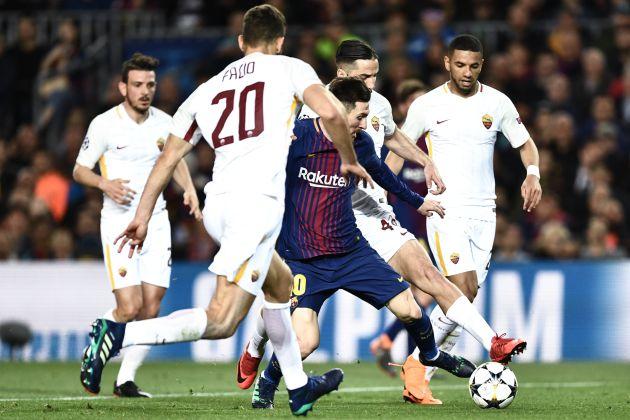 Messi en el partido de ida contra la Roma en el Camp Nou la temporada pasada en la Champions