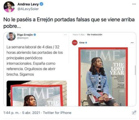 Captura de pantalla del mensaje que Andrea Levy ha borrado de su cuenta de Twitter.