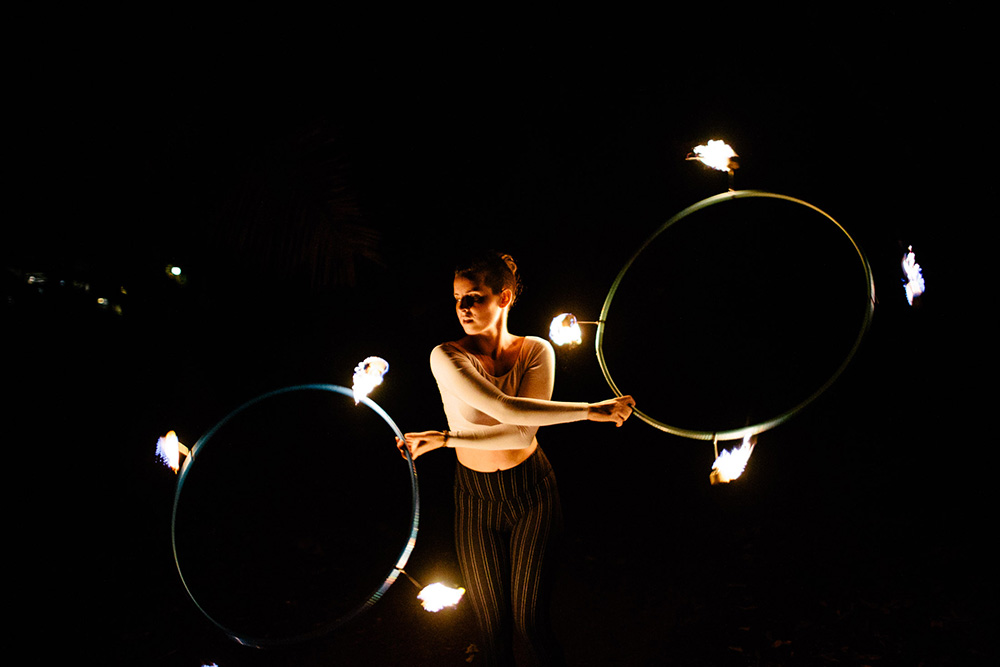 fire hooping with synergy flow arts photographed by cadencia photography