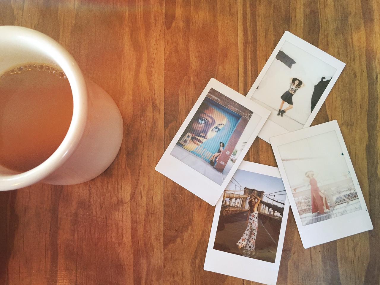 coffee and polaroids
